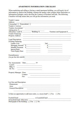 Apartment Information Checklist
