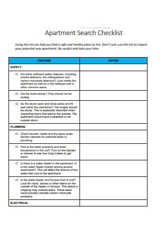 Apartment Search Checklist