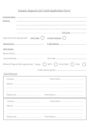 Apparel Credit Application Form