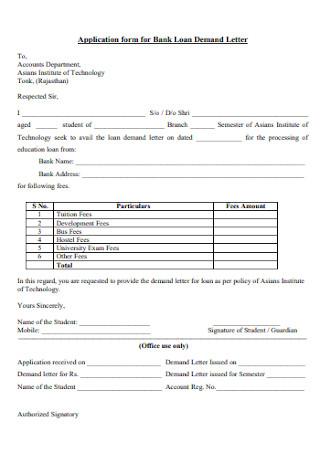 Application for Bank Loan Letter