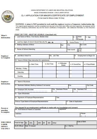 Application for Certificate Of Employment
