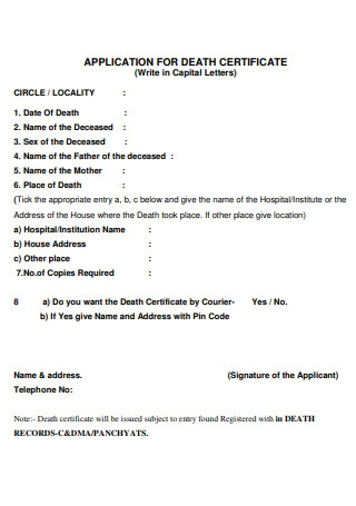 Application for Death Certificate