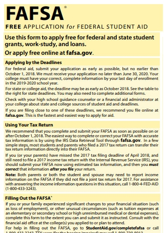Application for Federal Student Aid