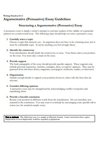 Argumentative Persuasive Essay Guidelines