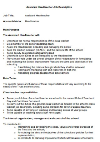 Assistant Headteacher Job Description