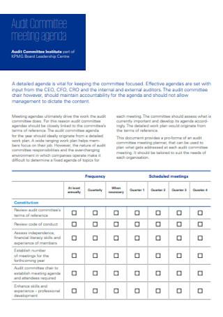 Audit Committee Meeting Agenda