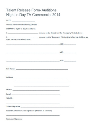 Auditions Talent Release Form