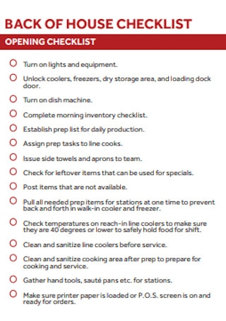 Back of Home Checklist