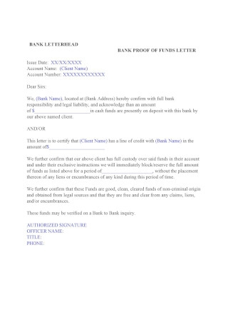 Bank Proof of Funds Letter