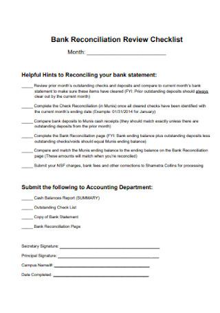 Bank Reconciliation Review Checklist