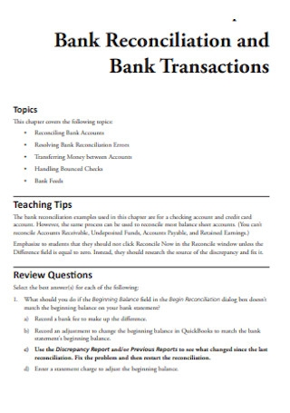 Bank Reconciliation and Transactions