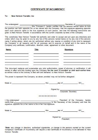 Basic Certificate of Incumbency