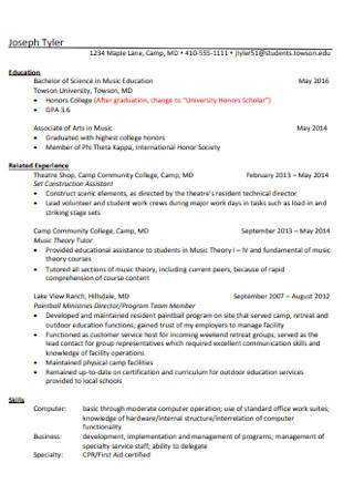 Basic College Student Resume1