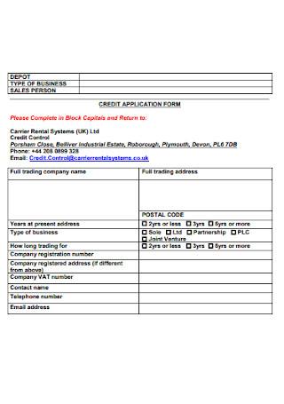 Basic Credit Application Form