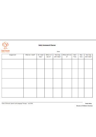 Basic Daily Homework Planner