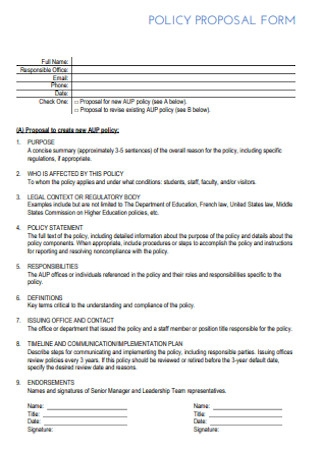 Basic Policy Proposal Form