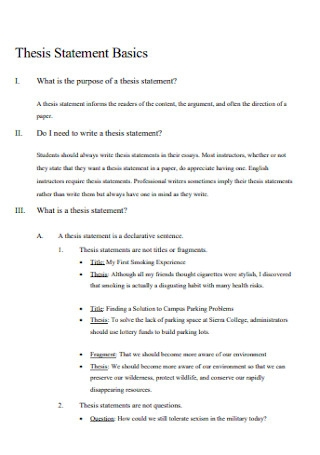 Basic Thesis Statement Template