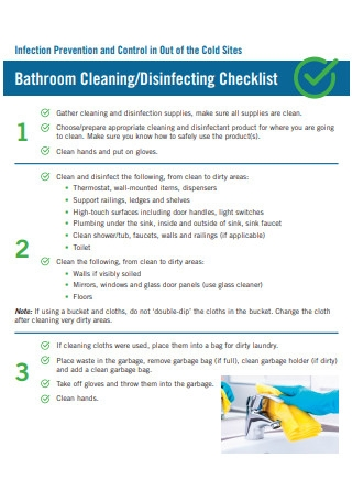 Bathroom Cleaning Disinfecting Checklist