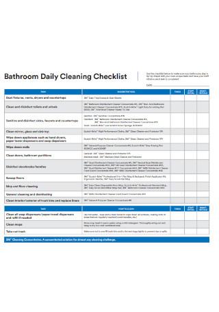 Bathroom Daily Cleaning Checklist