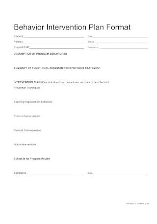 Behavior Intervention Plan Format