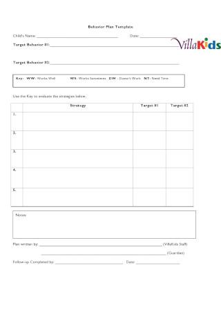 Behavior Plan Sample