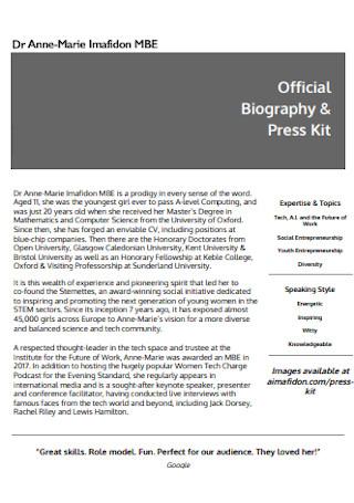 Biography and Press Kit