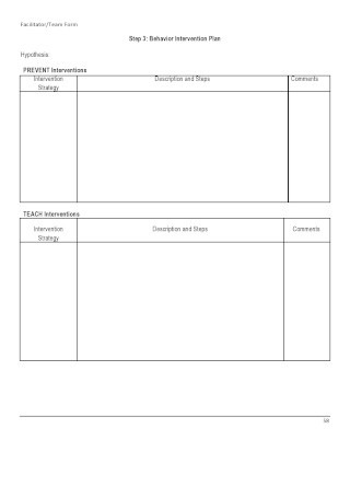 Blank Behavior Intervention Plan