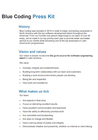 Blue Coding Press Kit