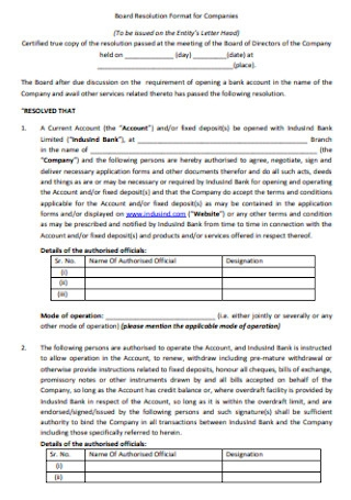 Board Resolution Format for Companies