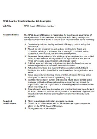 Board of Directors Member Job Description