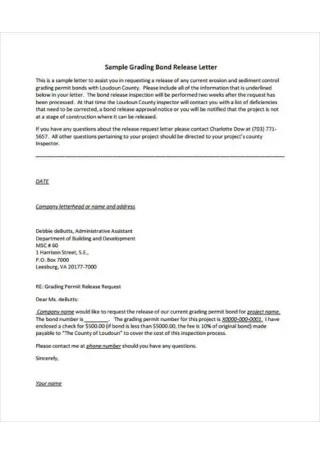 Bond Release Letter
