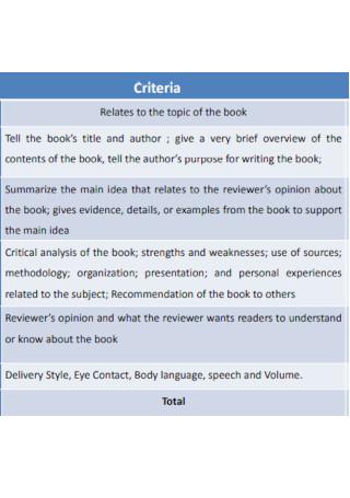 Book Review Criteria
