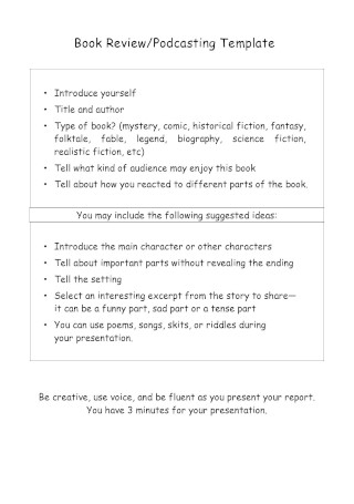 Book Review Podcasting Template