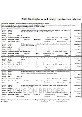 Bridge Construction Schedule