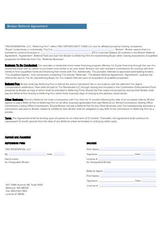 Broker Referral Agreement