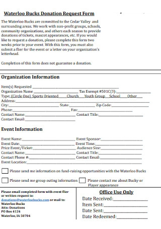 Bucks Donation Request Form