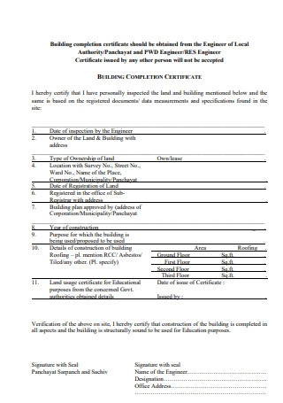Building Completion Certificate
