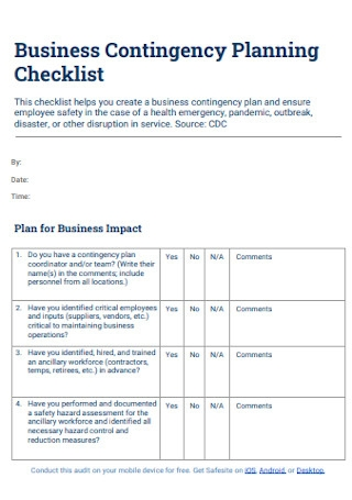 Business Contingency Plan Checklist