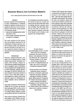 Business Model for Eloctronic Market