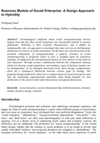 Business Models of Social Enterprise