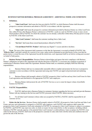Business Referral Program Agreement