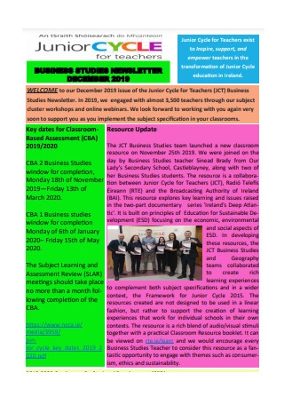 Business Studies Newsletter