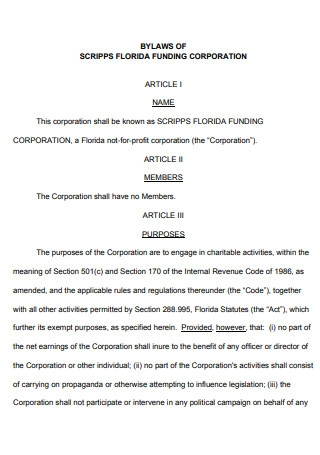 Bylaws of Funding Corporate