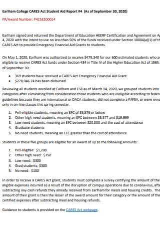 CARES Act Student Aid Reports