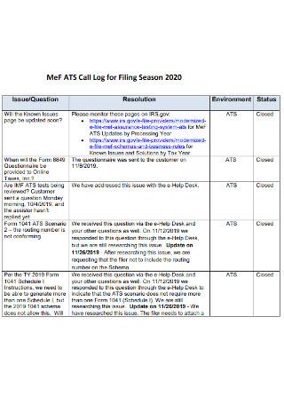 Call Log for Filing Season