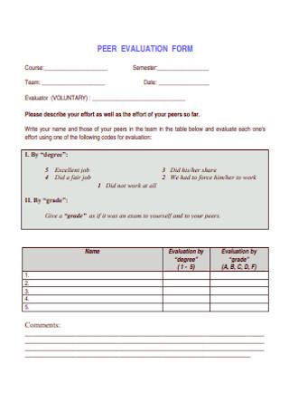 Campus Peer Evaluation Form