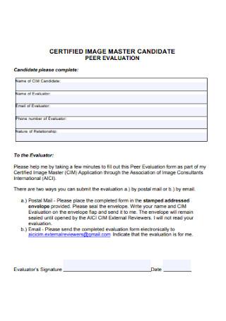 Candidate Peer Evaluation Form