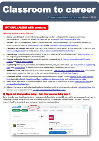 Careers Newsletter for Families