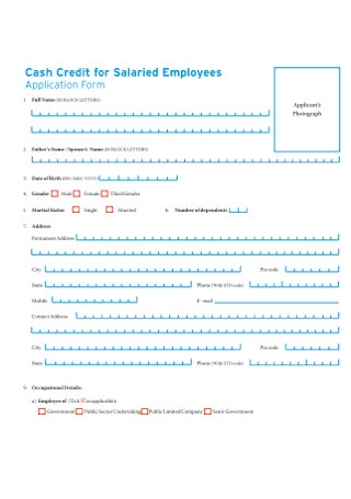 Cash Credit Application Form