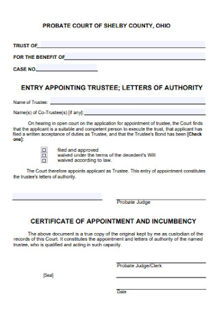 Certificate of Appointment Incumbency